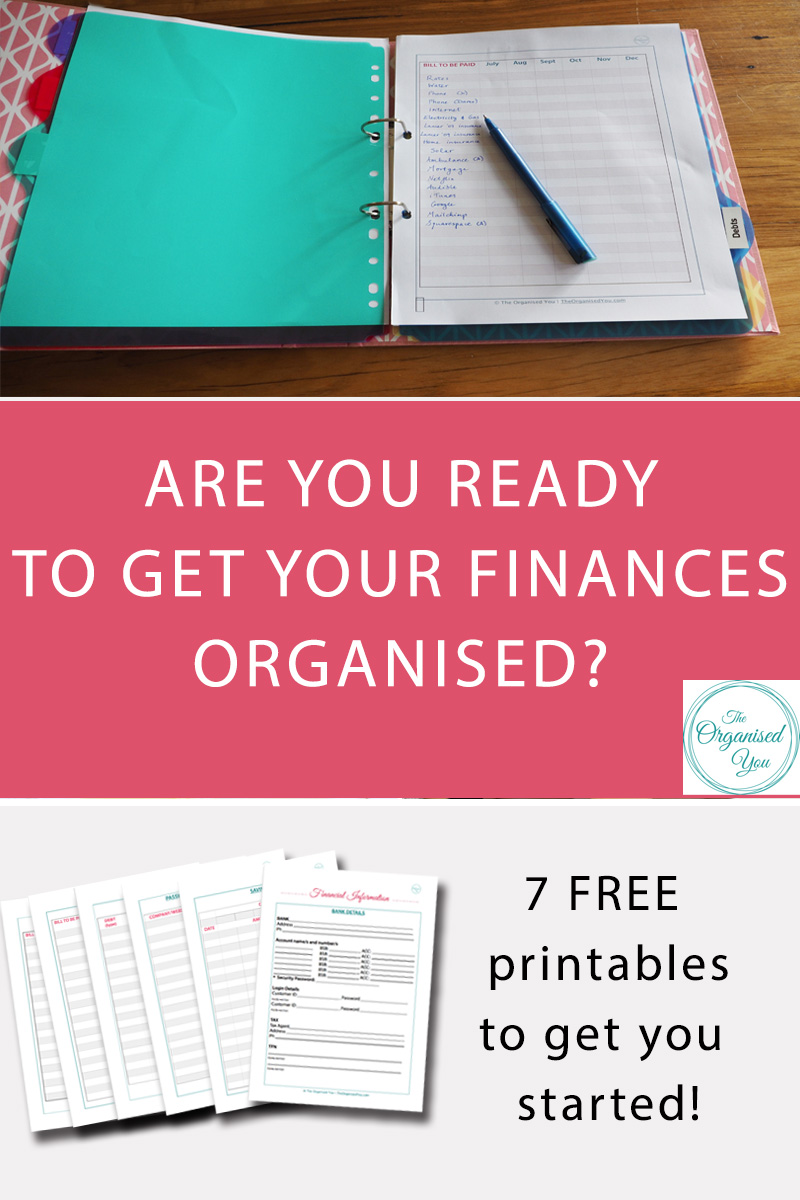 Are you ready to get your finances organised? - Creating a finance binder is the best way to start getting your finances on track. These 7 free finances printables include all the important information you need regular access to, a bill, debt and savings tracker, as well as somewhere to store important passwords. Click through to read how I created our finance binder to help us with budgeting and saving, and get your 7 FREE finance printables to help get your money organised too!