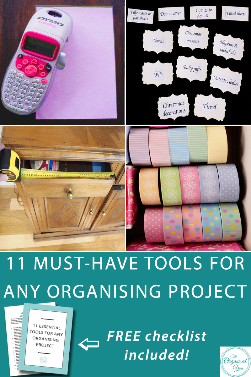 11 must-have tools for any organising project -  Whether you're tackling a large project or small, you'll need the right tools to get through it as efficiently and effectively as possible. Getting these tools   organised before you actually start will help the whole process go a lot faster, and encourage you to see the project through to completion. Click through to read the 11 must-have tools for any organising project, and grab your FREE checklist download!