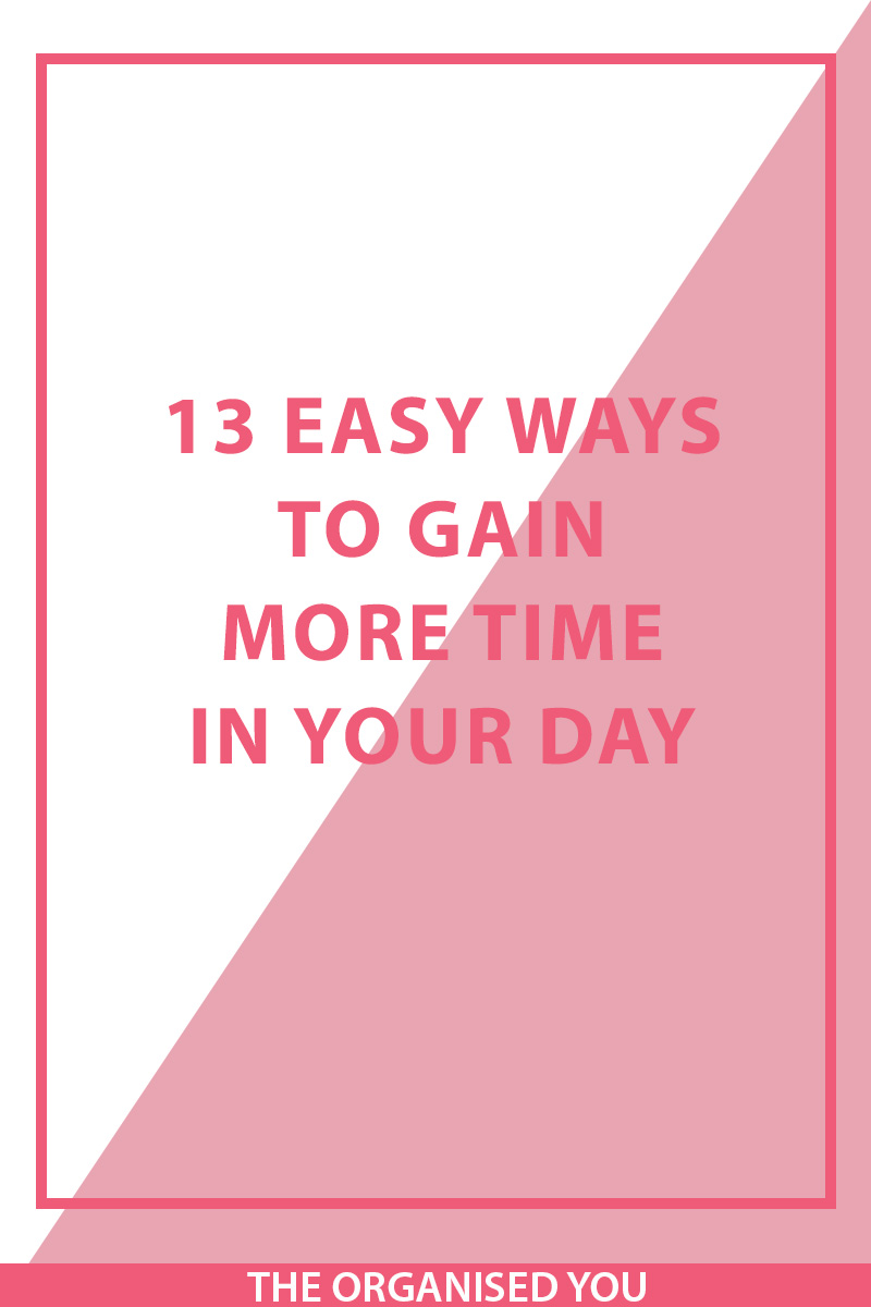 13 easy ways to gain more time in your day - Time is one of those things that we never seem to have enough of, and unfortunately, conjuring up a 26 hour day just isn't possible! But there are a variety of time management tips and strategies that will encourage you to be more productive and use your time more wisely. Click through to read about 13 of these time management strategies that you can start implementing today!
