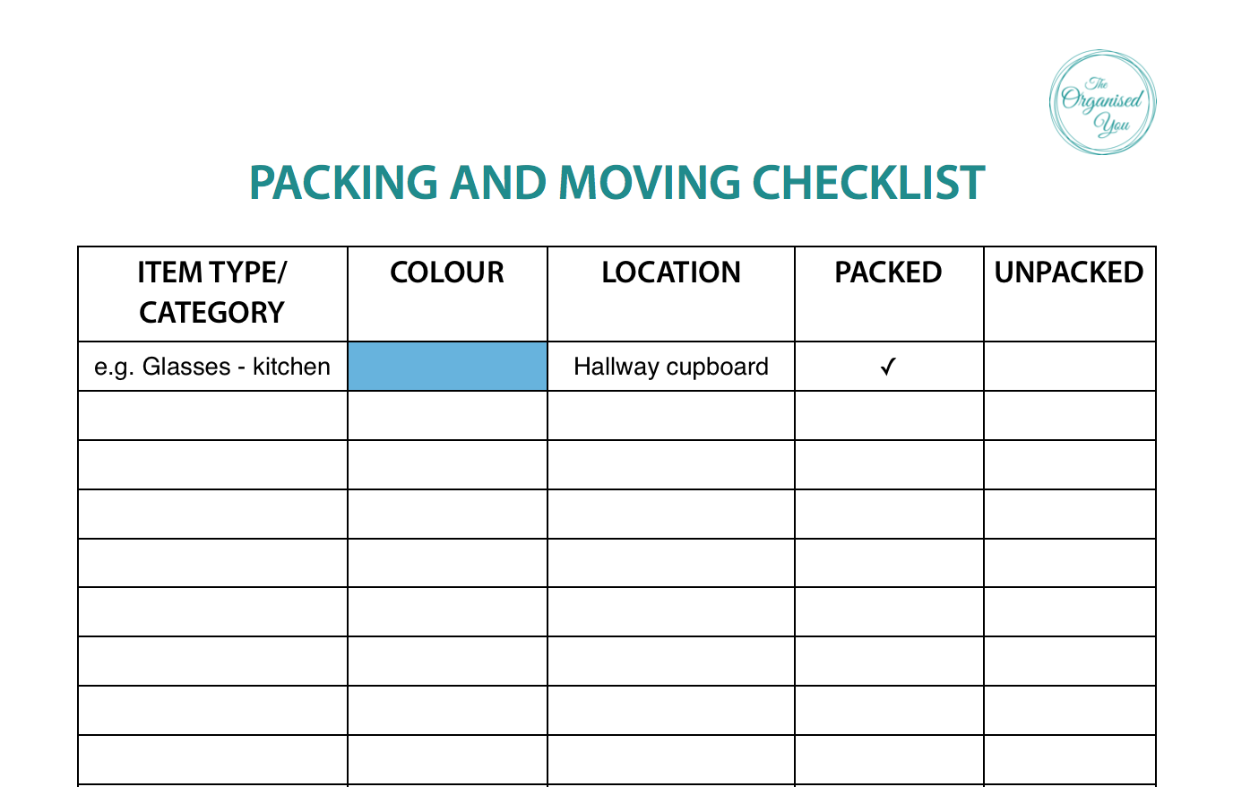Packing and moving checklist - The Organised You
