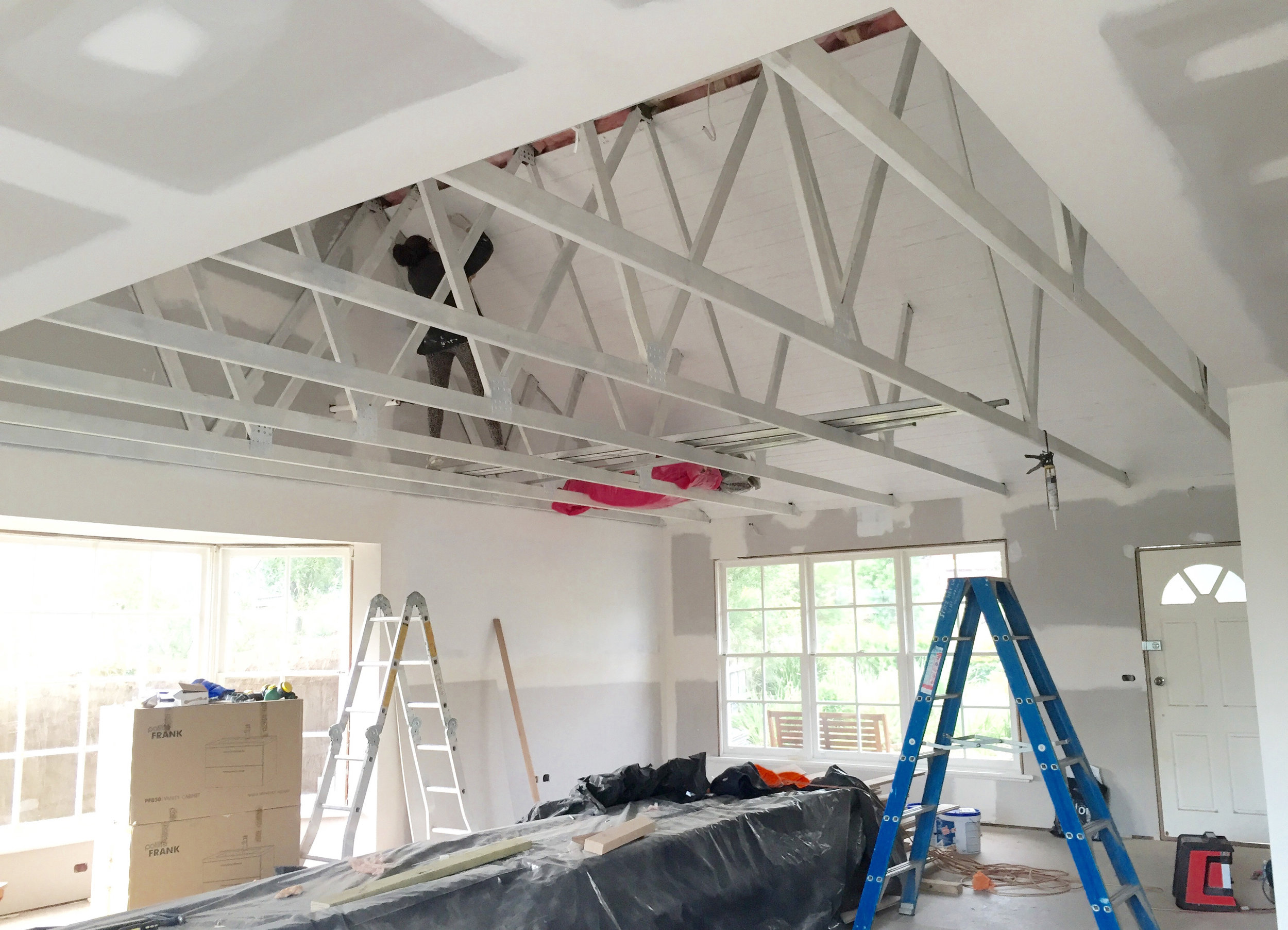 Painting exposed beams and pitched ceiling - The Organised You