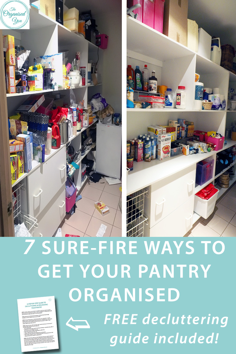 7 sure-fire ways to get your pantry organised - if the thought of getting your pantry organised is overwhelming or daunting, these 7 strategies will walk you through exactly how to get it sorted. Get the FREE pantry decluttering guide to ensure everything is easy to find, easy to access and easy to put away in your pantry to save time and effort. Click the link for full access!