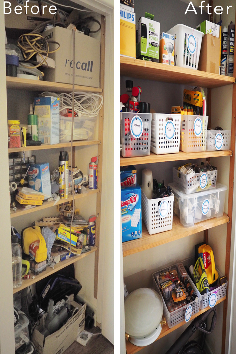 Storage cupboard organisation makeover {The Organised You}