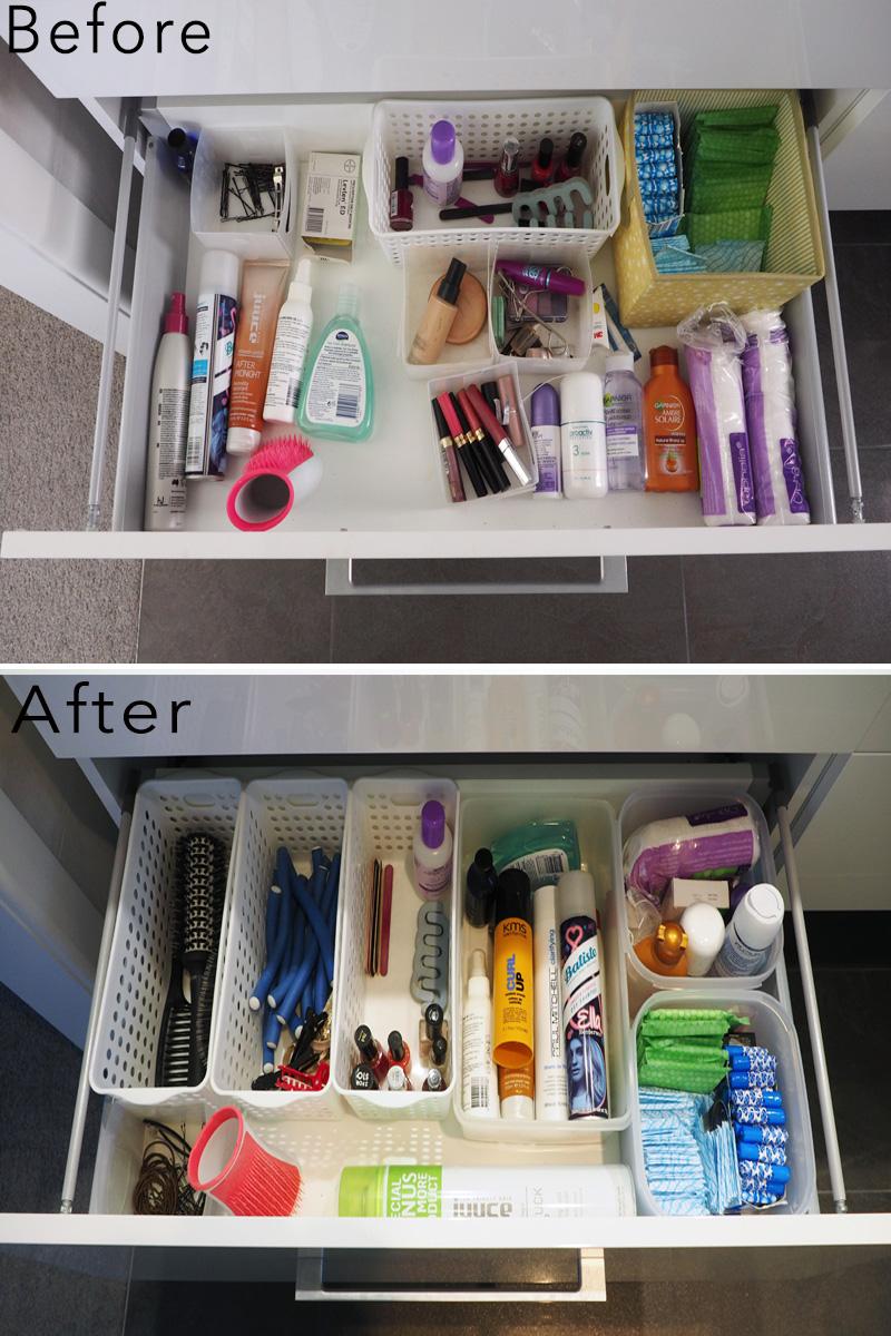 bathroom vanity organisation.