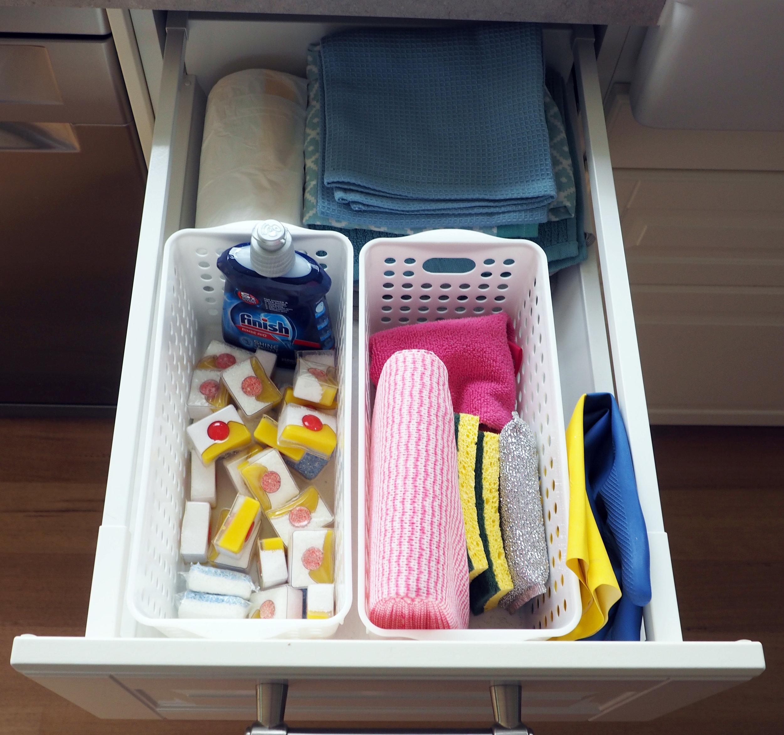 Cheap baskets make a great kitchen storage solution