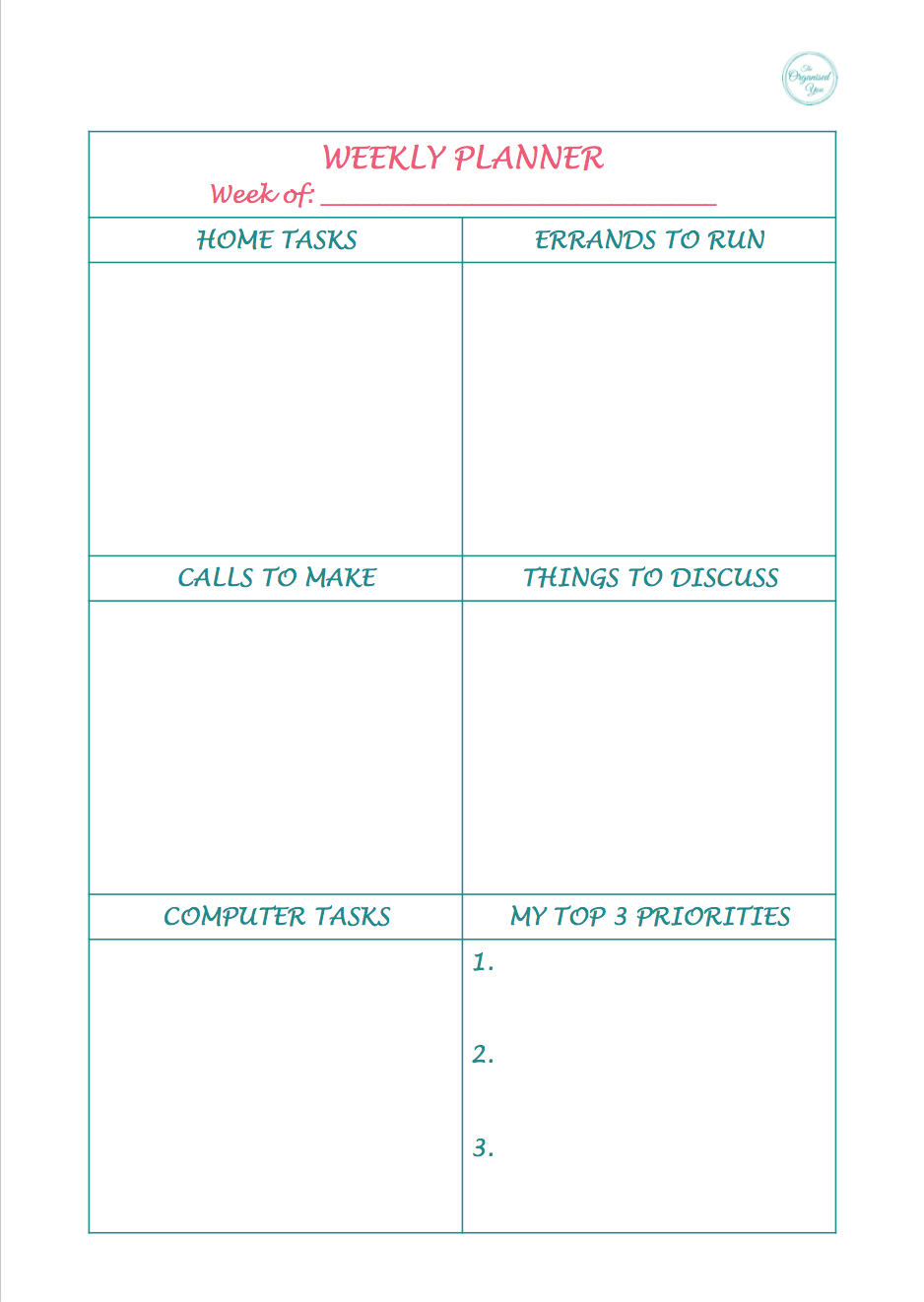 Plan your tasks in categories to be more efficient and productive with your time {The Organised You Productivity Pack}