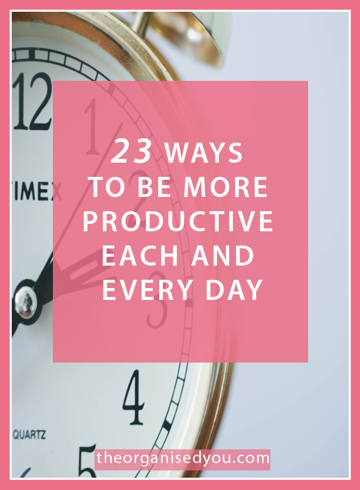 23 ways to be more productive and efficient every day -Whatever your work and family situation, we all have the same amount of hours in the day, it's how we plan and use our time that matters. This post rounds up 23 of the best tips and strategies for creating routines and systems that will encourage you to be as productive as possible each and every day.Click through to find out more!