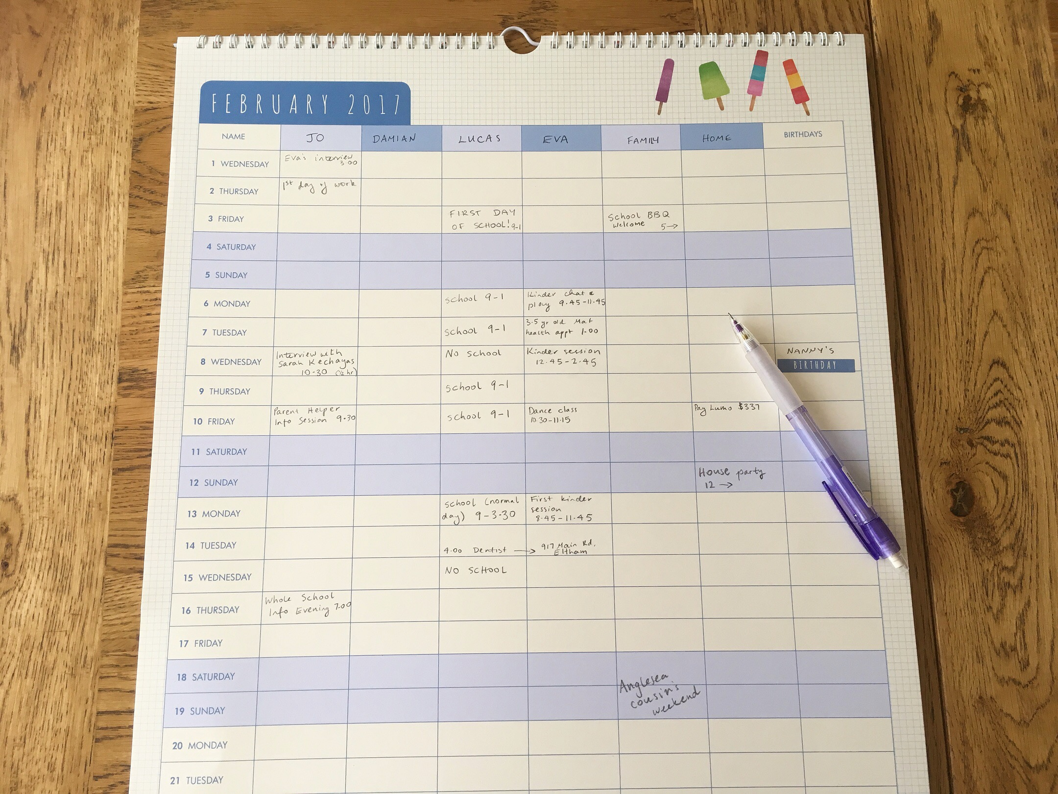 A family calendar with a designated column for each family member allows you to see at a glance what's on for everyone, and stay on top of changes in schedules