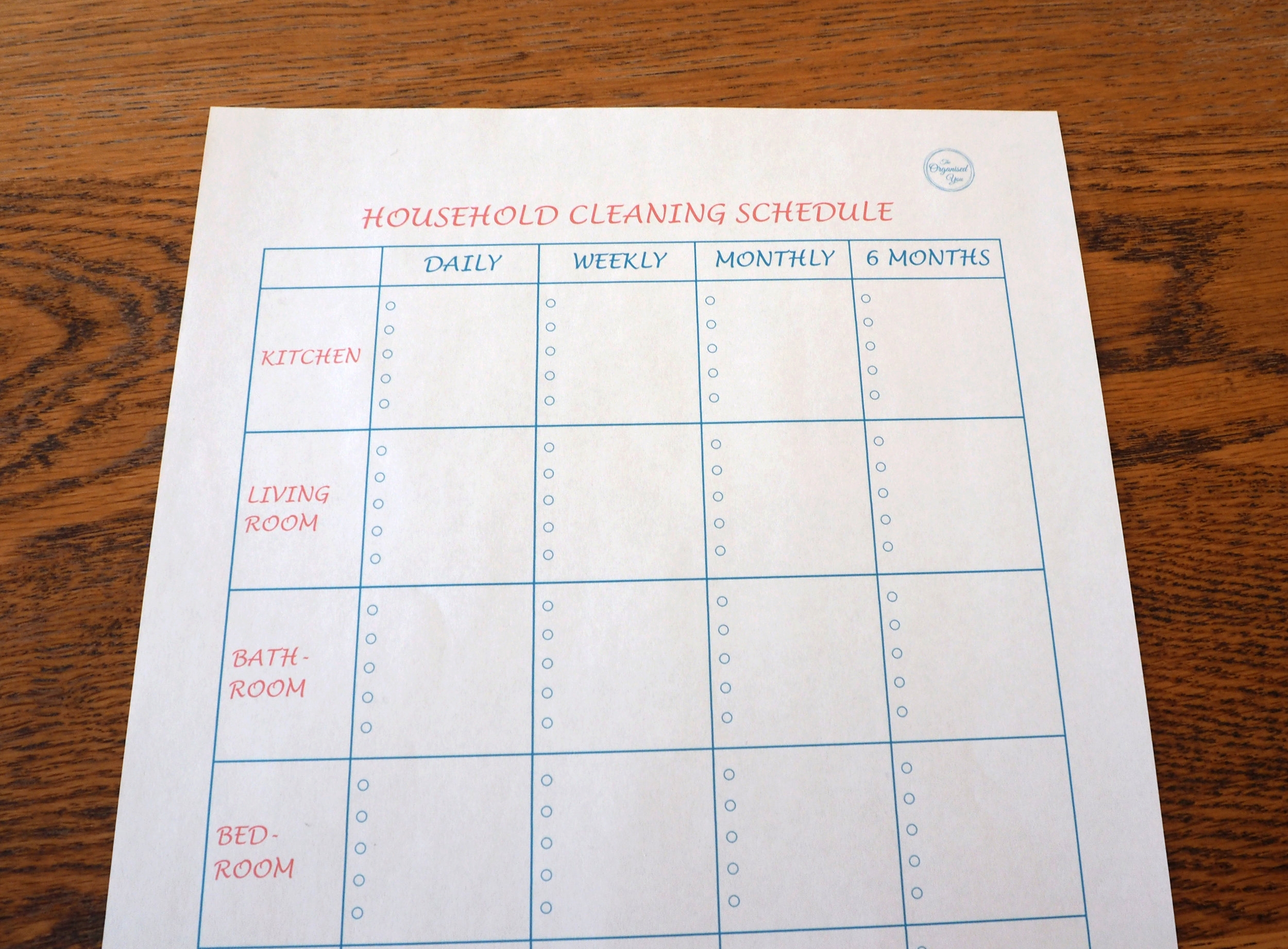 Use a cleaning schedule to determine which tasks you should be doing in which area of your house and how often they need to be done