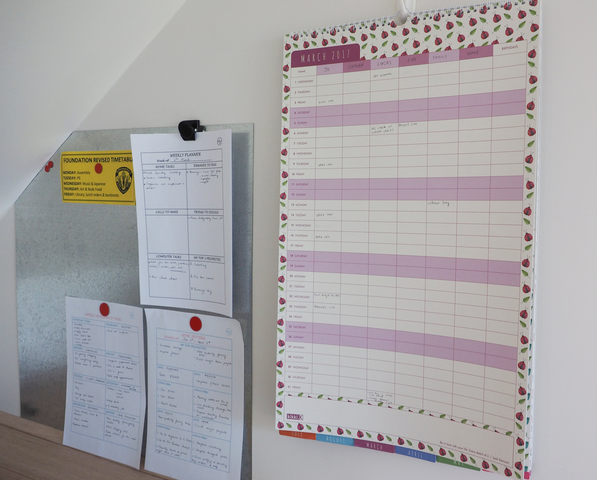 Keep your planners somewhere that's quick to see at a glance, such as in a  command centre