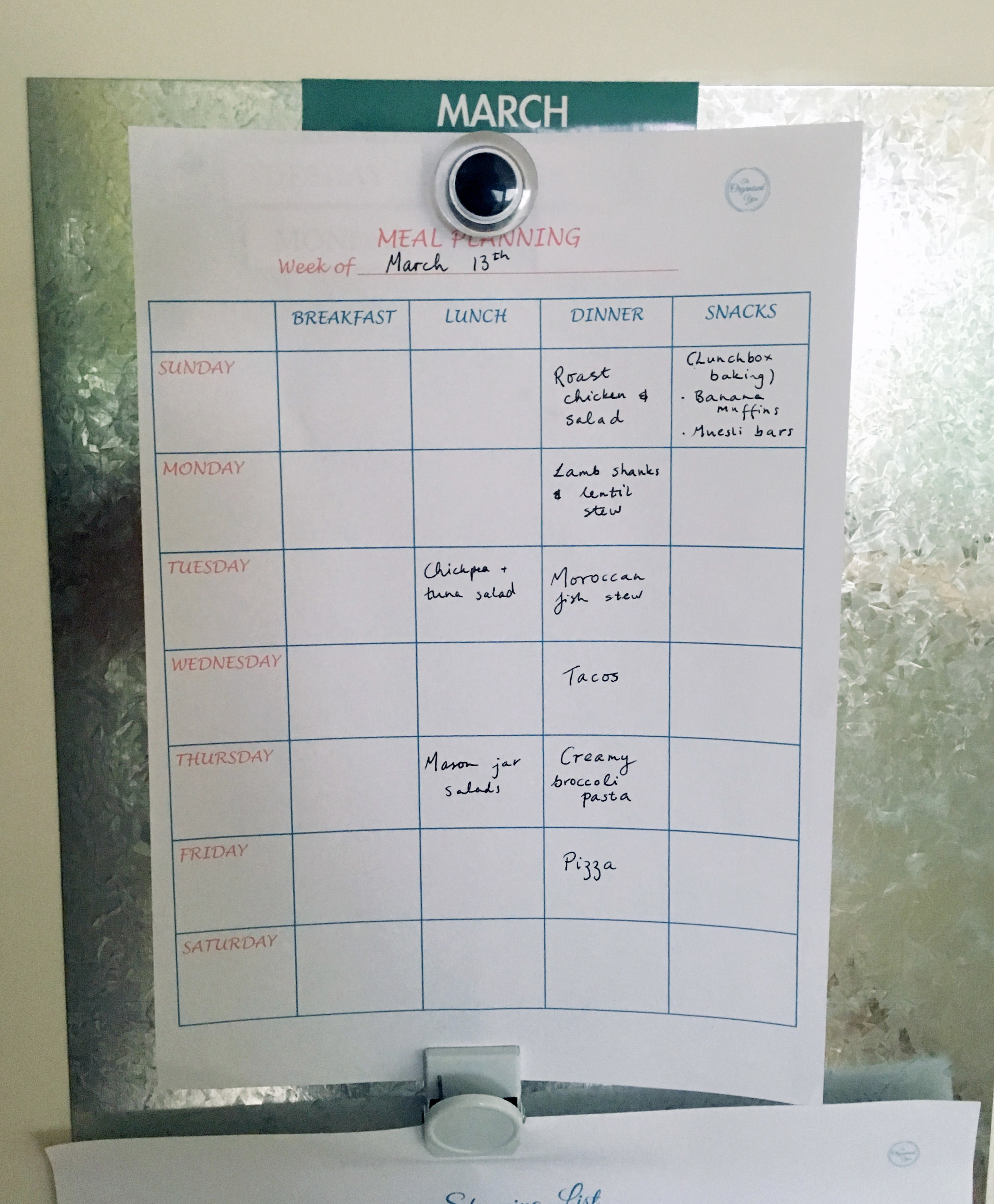 Meal planning {The Organised You}