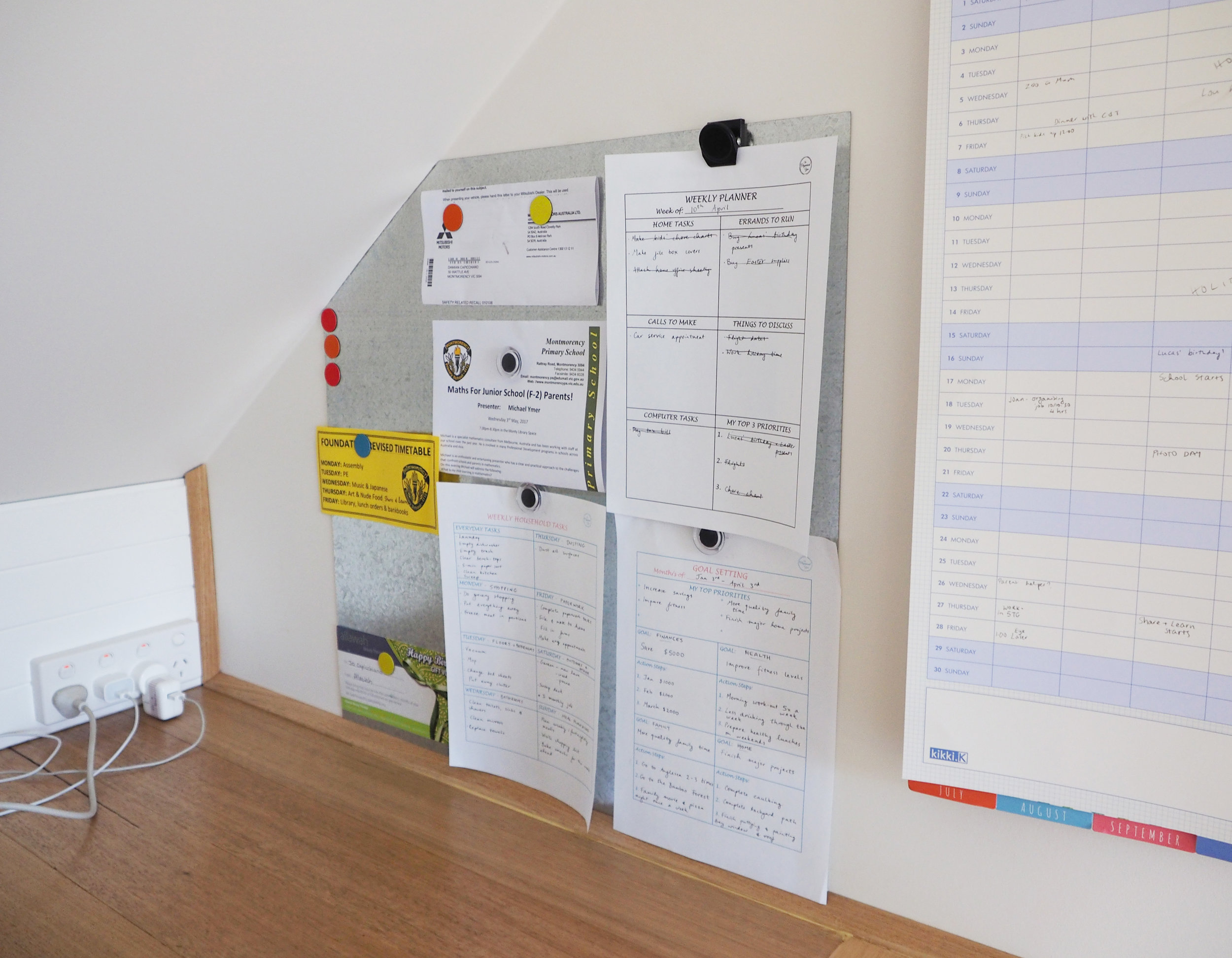 Use a memo board to pin important information in a family command centre {The Organised You}