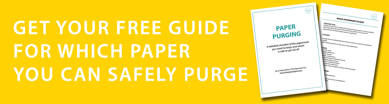 Free checklist for paper purging {The Organised You}