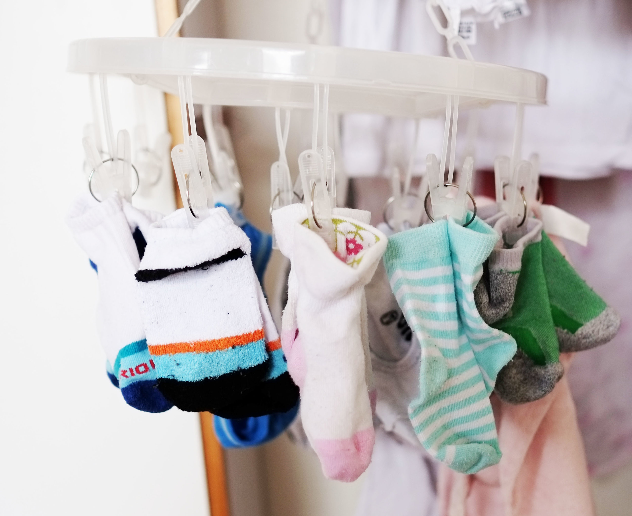 Hang socks in pairs to cut down on your folding and sorting process