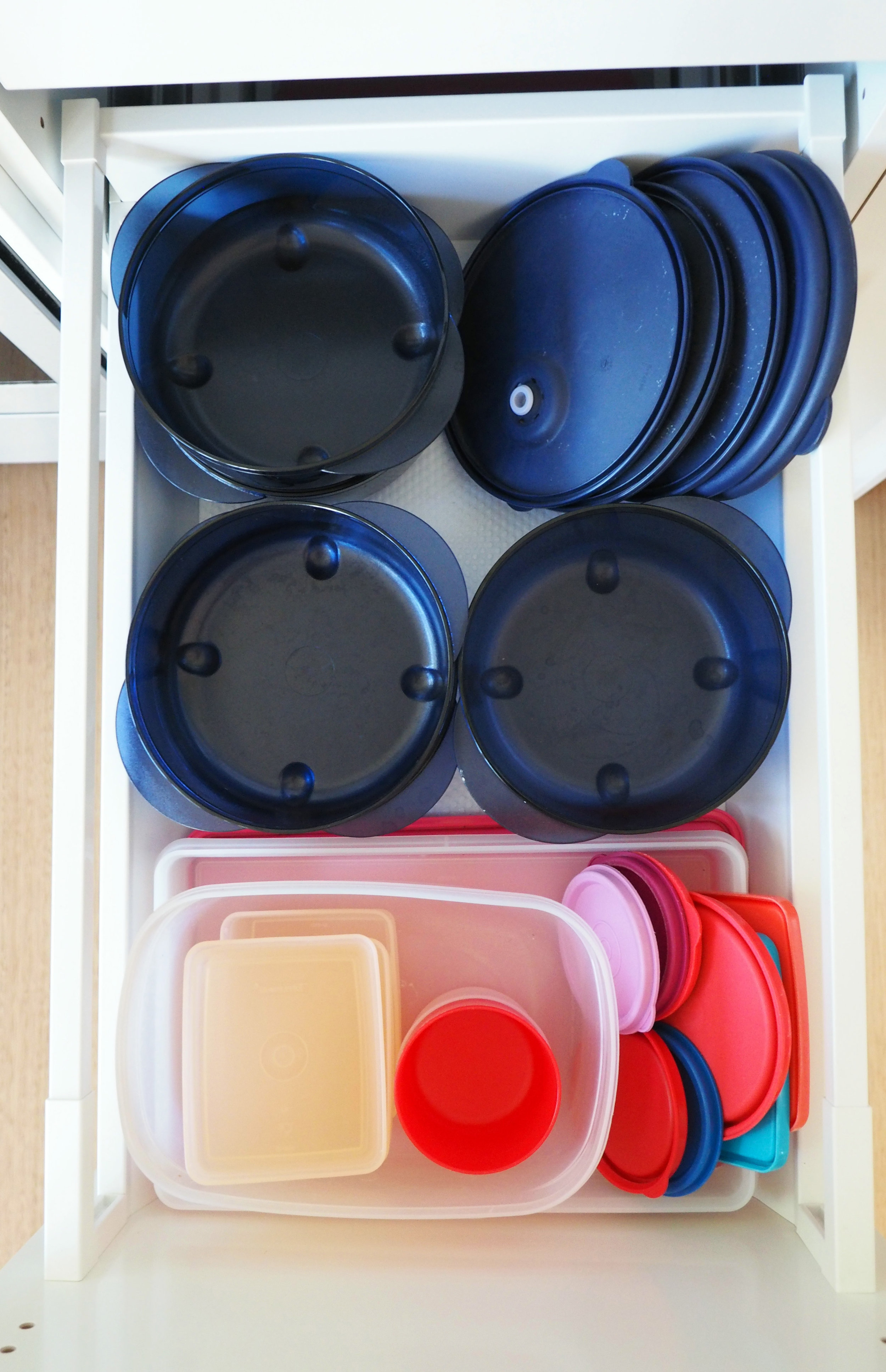 Organise plastics by separating containers from lids
