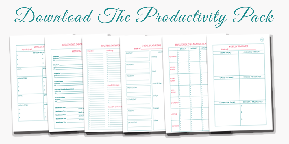 The Productivity Pack - over 30 printables, with different layouts to choose from, to help you organise your time and be more productive and efficient with your routines, planning and tasks