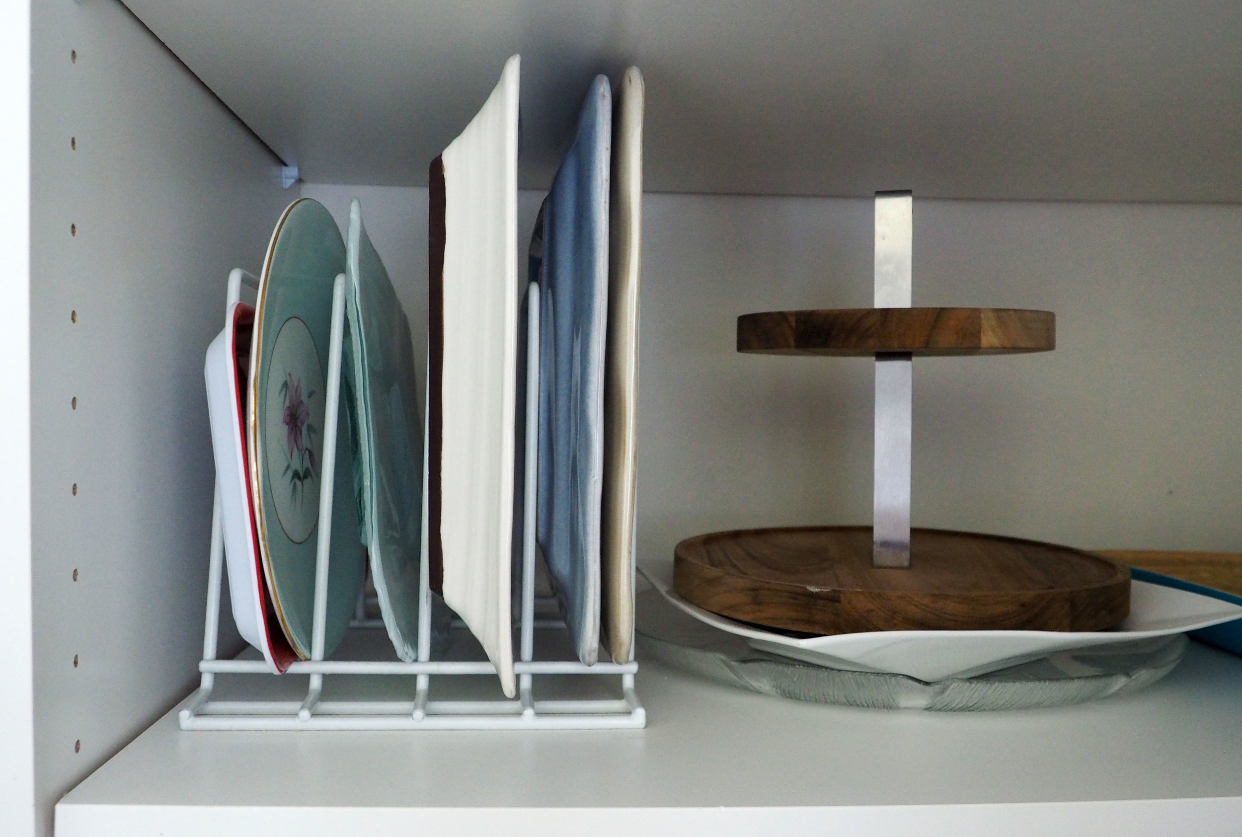 Organise platters in a divided dish tray for easy access {The Organised You|}
