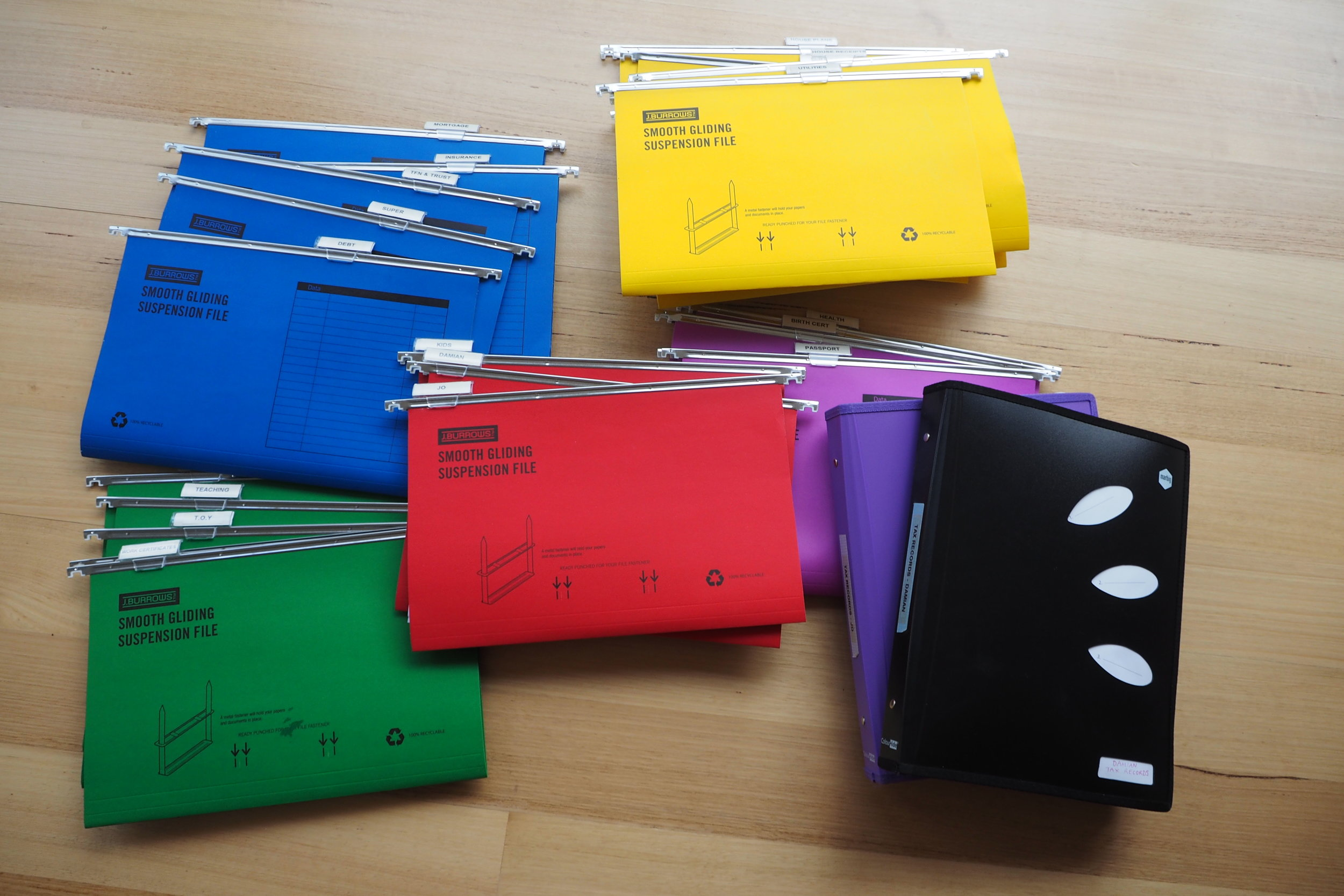 Use colour-coded files to sort paperwork into different categories {The Organised You}