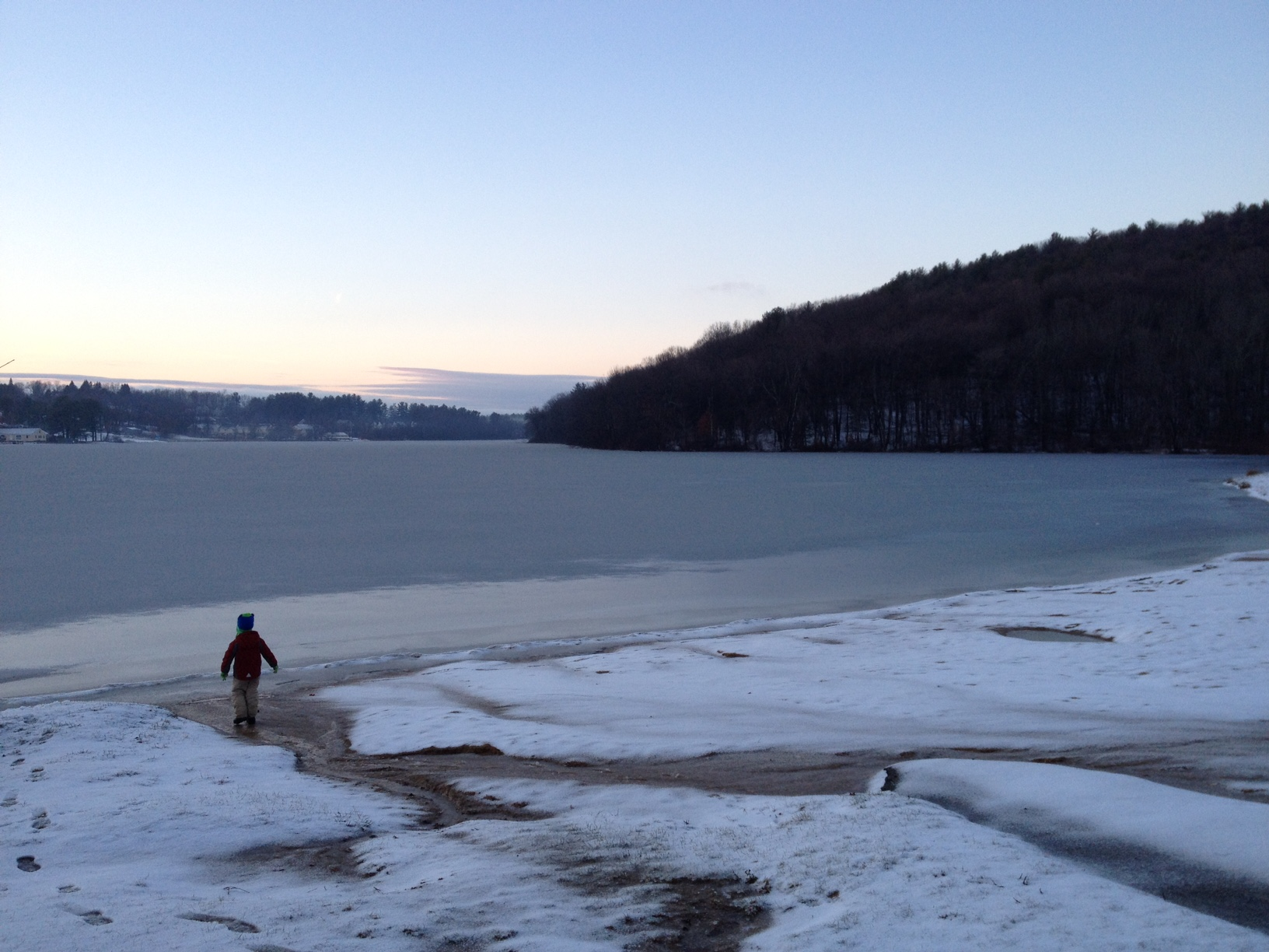 A recent walk along Lake Gardner beach with my son.  The ice had not yet solidified.