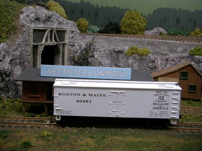 This model represents an ice car (or refrigerator car) which would have traveled on the Boston & Maine line, the railroad line which serviced Amesbury.