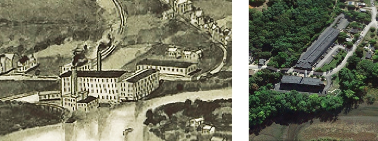 The Oak St. complex, in drawn aerial view from 1914, with the power plant down on the riverbank below the Oak St. buildings, and current aerial photo.