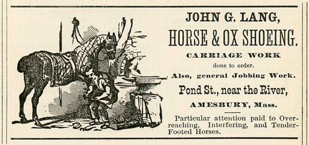 John Lang promoted his Pond Street horse and ox shoeing business in this 1875 directory advertisement. Note the detail in the artwork. Even then, advertisers knew that pictures attract attention.