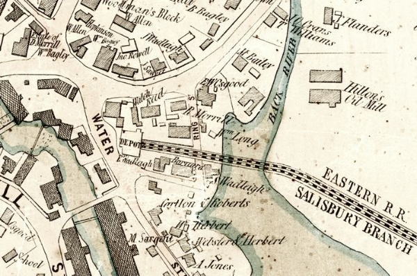 "1854 Clark map shows the original passenger station (labeled ""DEPOT"") on Water Street at the west end of the tracks."