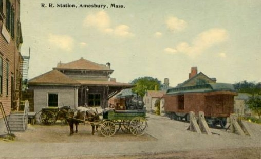 "Amesbury passenger station, viewed from Water Street, after moving to its current location. Barriers on right show how tracks ended at the edge of Water Street as indicated by the 1889 insurance map on the left. Hand-colored postcard from ""Railroad Stations in New Hampshire and in Massachusetts"" (lightlink.com/sglap3)."