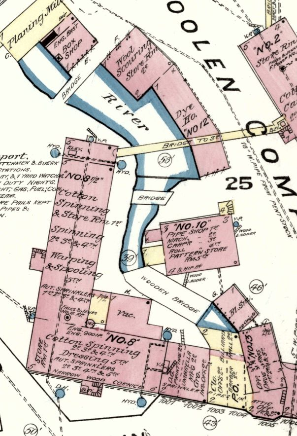 Detail from 1885 insurance map shows Mill 8 and other developments in the millyard. (Library of Congress)