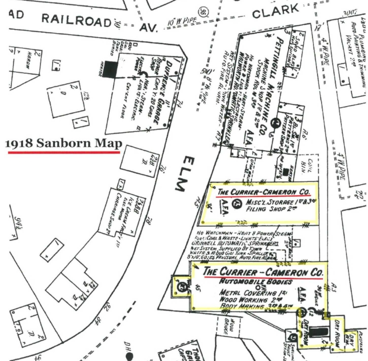 1918 insurance map showing 79 and 85 Elm Street (yellow highlight) as occupied by Currier Cameron & Co., who made most of the bodies for Stanley Steamer autos. Except for parts of the rear engine house, the building at 85 Elm (highlighted building nearest the bottom of the map) no longer exists.