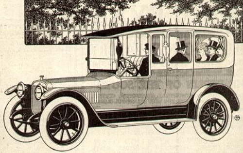 A 1915 Winton Six Limousine. Some Winton car bodies were manufactured by Albert G. Bela Body Co., which occupied 77 Elm Street, Amesbury, in 1915 and 1916. (Illustration from Wikipedia.org.)