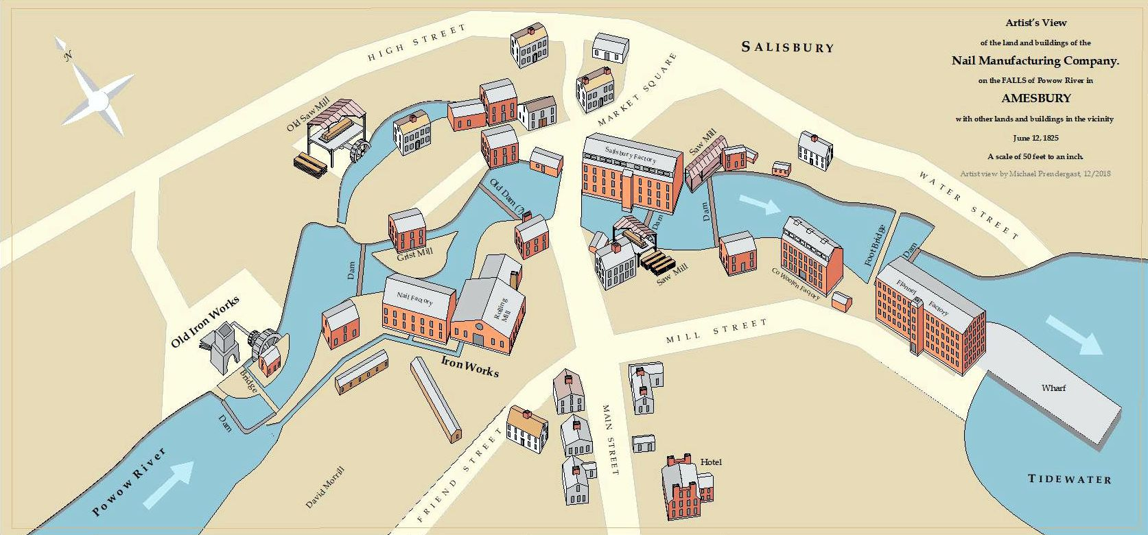 An artist's view of the millyard as it might have appeared in 1825. Volunteer Mike Prendergast created this map for the Amesbury Industrial Survey project.