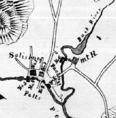 "Figure 3: 1830 map of Salisbury Mills. The Clark Tannery is the ""L""-shaped building across the Back River labeled ""No. 6."" The legend says this is a ""Bark Mill."""