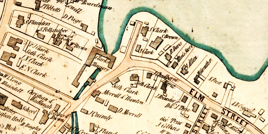 Figure 4: Detail from Woodford Map of the Town of Salisbury and Amesbury (1854). Clark's Tannery is near the center of this detail, and the four Clark brothers had houses just west (to the left) of their tannery.
