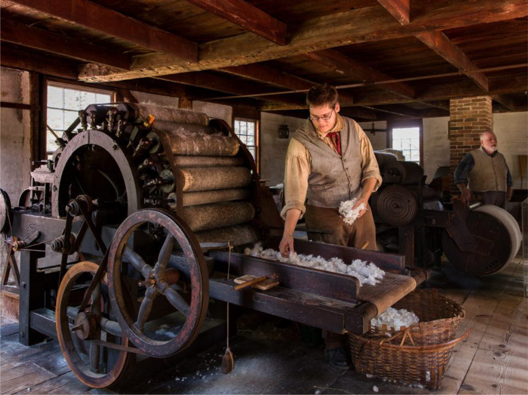 A costumed interpreter at operates a carding machine made about 1810. Courtesy Old Sturbridge Village.