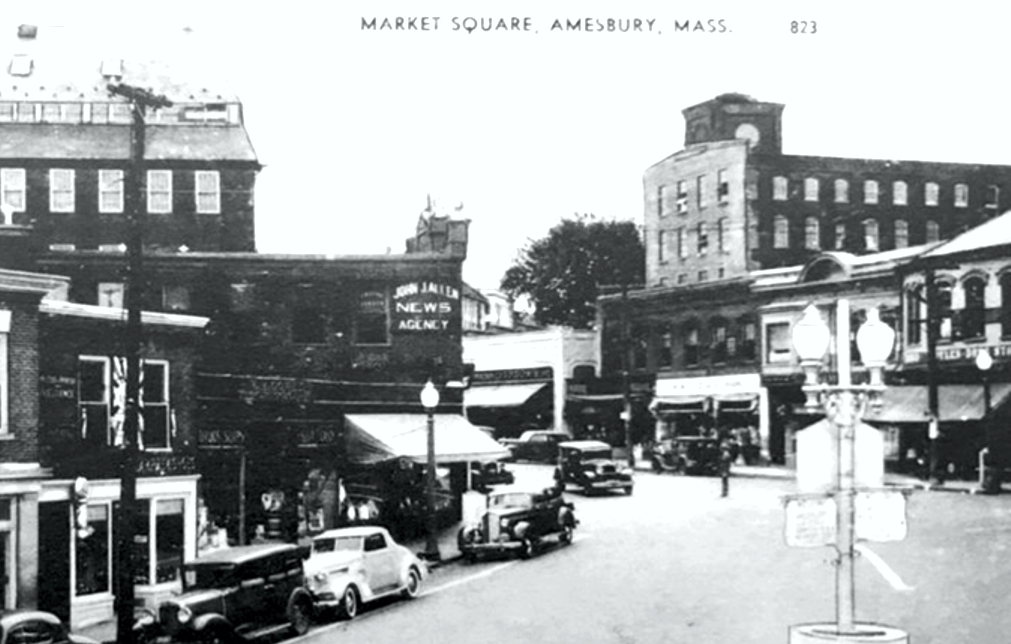 Amesbury's Market Square in the 1930s. The sign for J. J. Allen's newspaper distribution business is near the center of the photo.