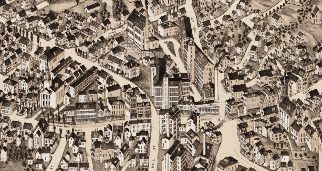 Detail of the 1880 Bird's Eye view centered on Market Square.