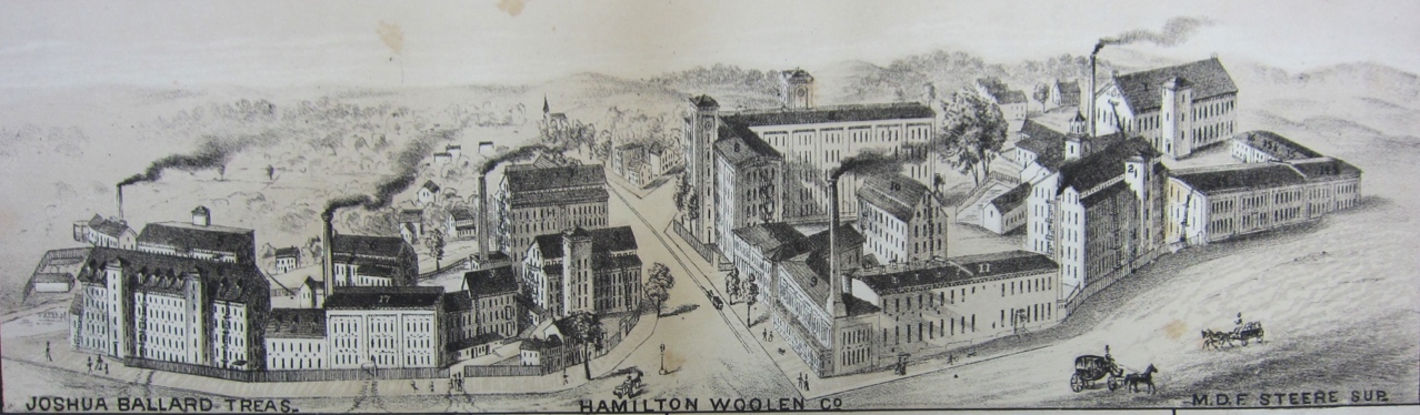 A view of the Hamilton Woolen Co. in 1880. The mills were formerly known as the Salisbury Manufacturing Co. This view is looking south from above Market Street. Market Square is at the bottom center and High Street is at the lower right.