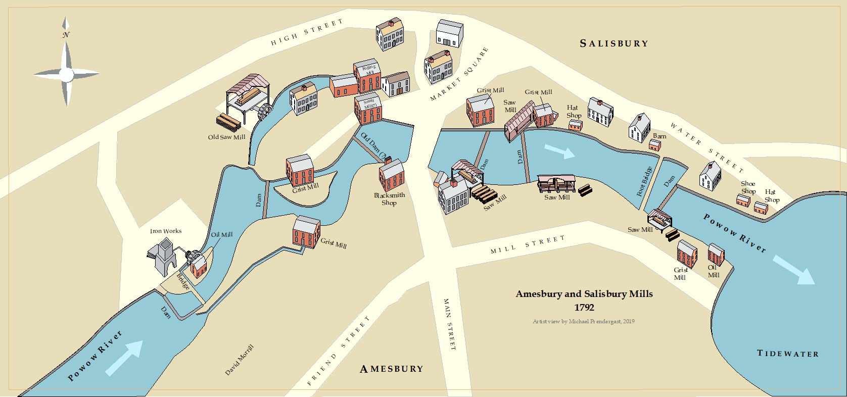This view shows the millyard in an early, industrial state. Local owners operated mills of different types including 5 sawmills, 7 gristmills, 2 oil mills, a snuff mill and an iron works. The range and density is unique to the region and distinguished Amesbury from other communities. Ownership of a mill privilege allowed the use of the water flow in the river. The types and locations of the mills were determined by deed research and through published descriptions.