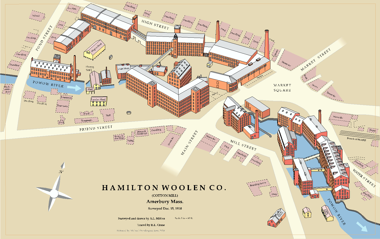 This view shows the millyard at the peak of its development. At this time, the Hamilton Woolen Company operated the mills. The buildings create an unbroken wall along the river. Around 1,000 workers were employed in the textile industry at its peak. Two years after this view was made, the Hamilton Company closed their doors bringing an end to textile making in Amesbury.