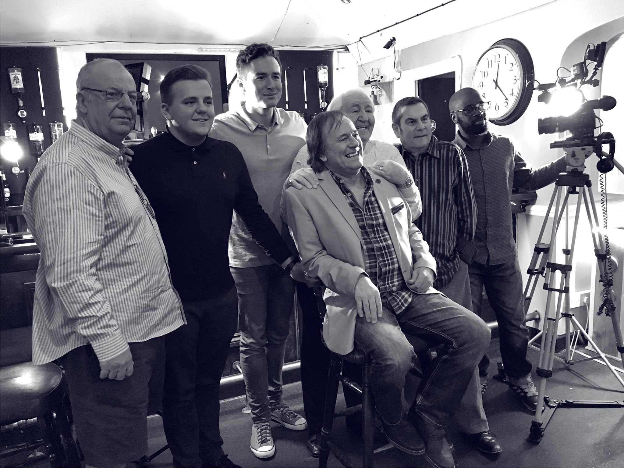"""Relative Motion Would be the production unit for a new TV Comedy show """"Caught in the Act"""". Executive Producer Duncan Norvelle,Produced by Michael HallMcpherson and Director Efe Andre.  Subfrantic Services would be the principal suppliers for lighting an sound.  The Boys lining up for some press shots on location at The Winchester Club, Monster first days filming on ''Court in the Act""""!  From left: Bill Bailey (Winchester Club) Charlie Bailey (Comedian) Michael Hall Mcpherson (Producer) Duncan Norvell (Comedian, Writer) Jimmy Jones (Comedian) Eric Hall ( Monster Legend!)(Director) What A Suspicious Bunch!"""