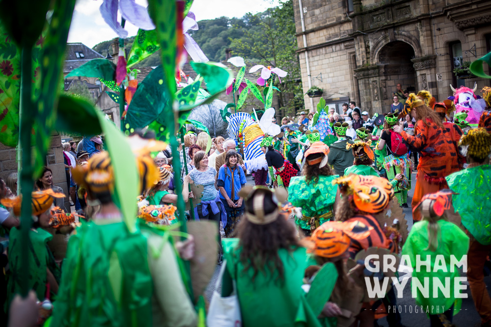 Crowds watching the parade go past Hebden Bridge town hall