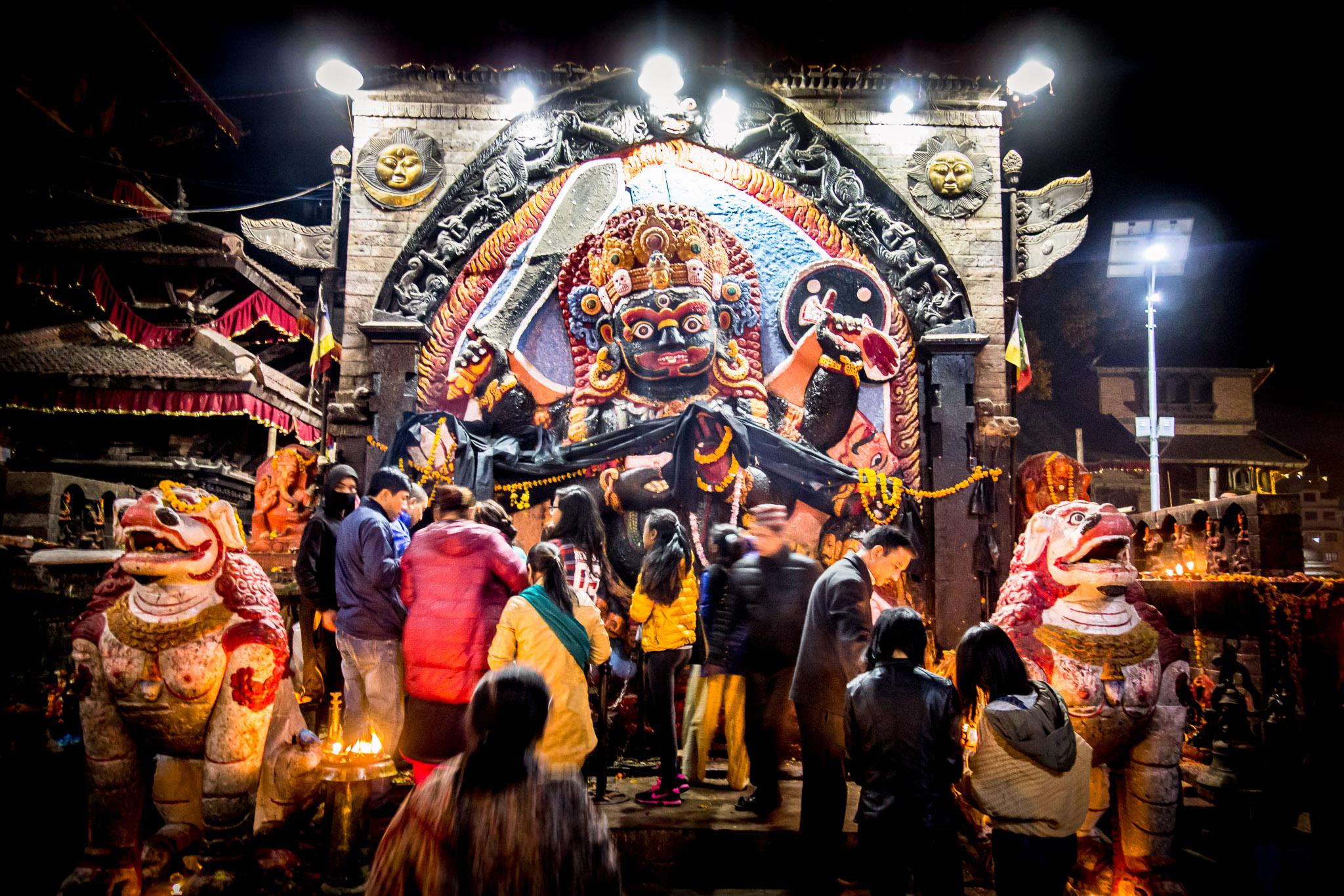 "The Hindu god represented is Bhairava (Sanskrit, ""Terrible, Frightful""), a fierce manifestation of Shiva associated with annihilation."