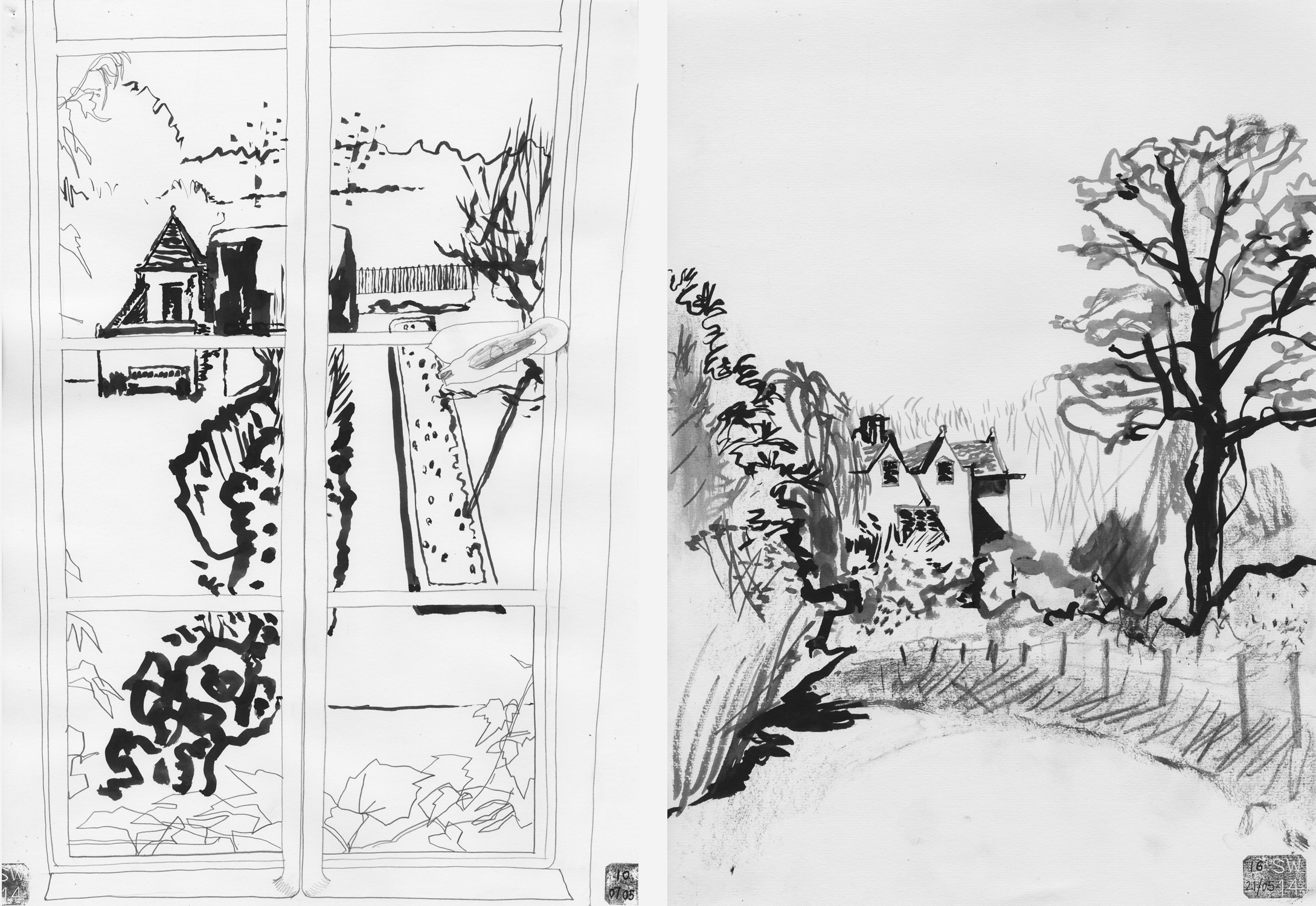 My drawing from one of the attic windows and today's drawing of the Manor from the lane that leads down to the River Thames.