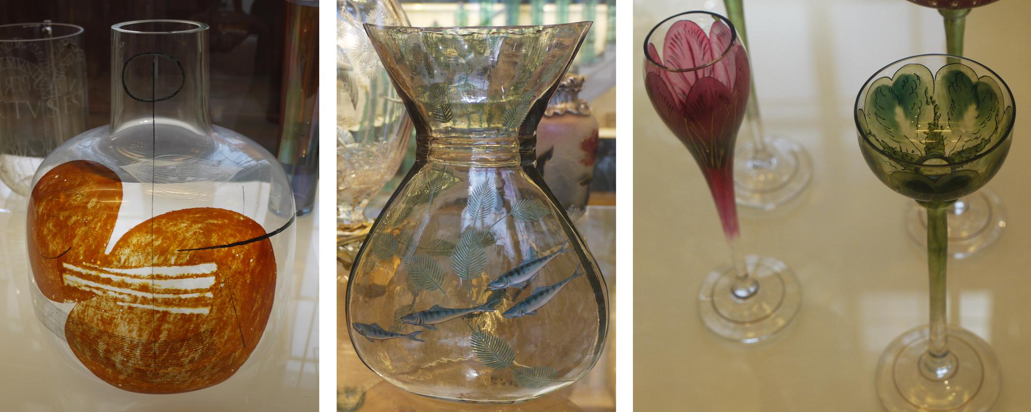 Enamelled glass vessels in the V&A: by Karel Vanura 1959, Francois Eugene Rousseau 1878, Ludwig Sutterlin 1904.
