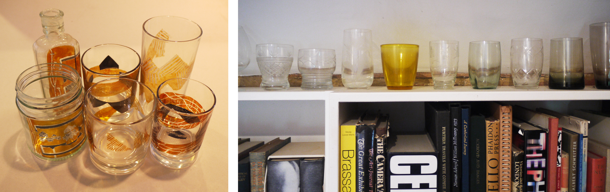 Some of the first tests and part of my collection of beakers.
