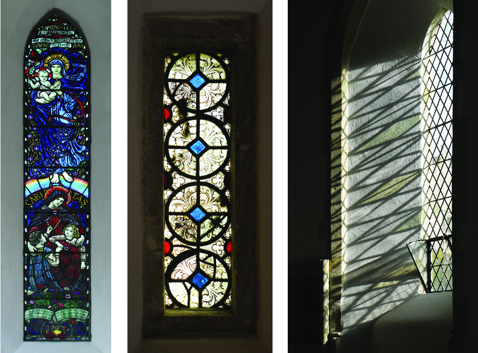 Inside St. Mary's, Bibury: window by Karl Parsons 1927, C13th grisaille glass, windows added to church in C15th.