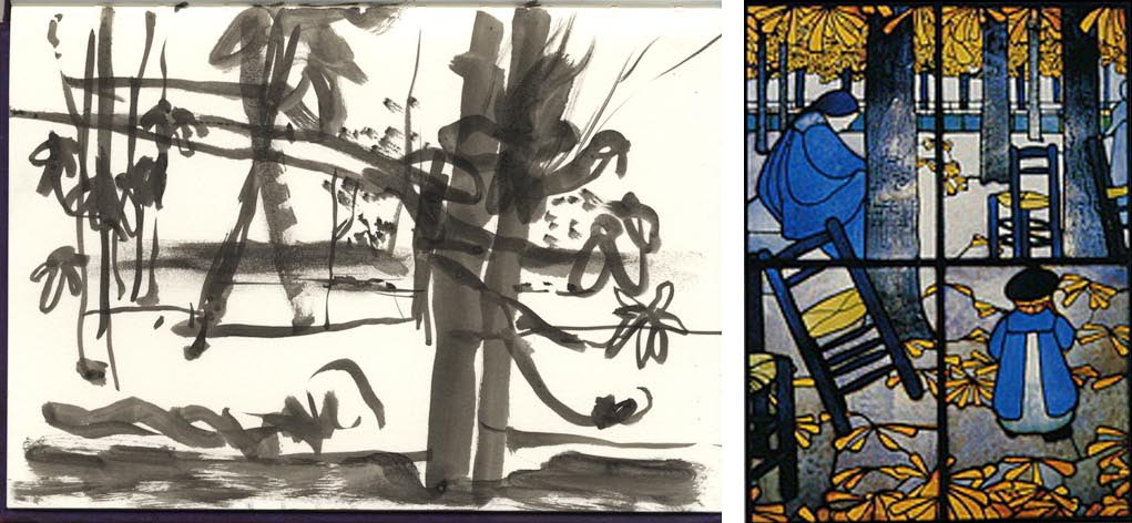 Left: one of my drawings from the cut. Right: Garden by Roussel, 1894.