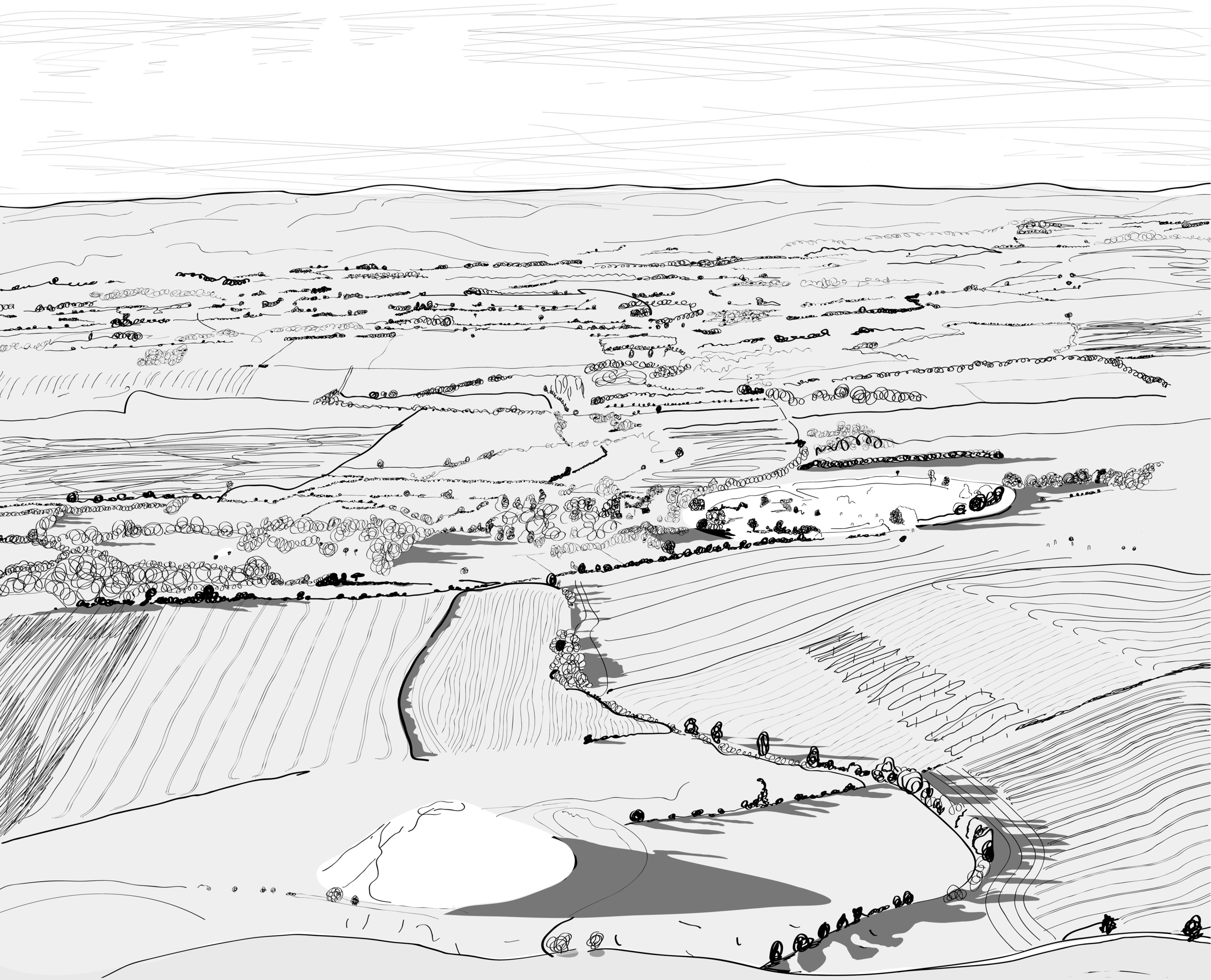 Looking across Silbury Hill towards Avebury (showing the water meadow and the muddy path) by Ray Ward