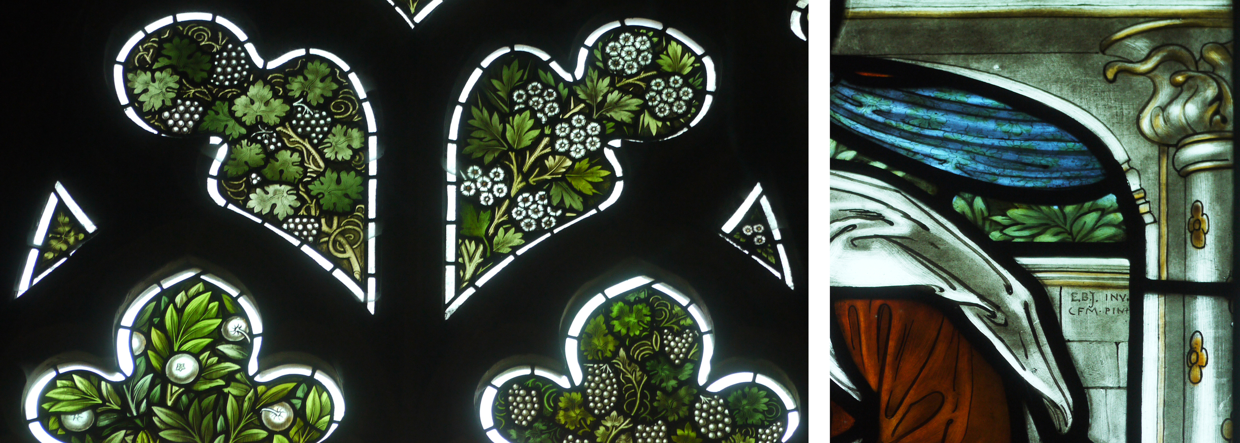 Details from the Vyner Memorial window, Morris & Co. 1872. On the right rare (for stained glass)initials of EBJ, designer and CFM, glass painter.Christ Church, Oxford